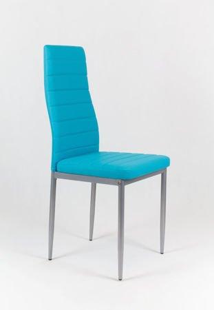 SK Design KS001 Turkusowe Krzesło z Eko-skóry, Szare nogi