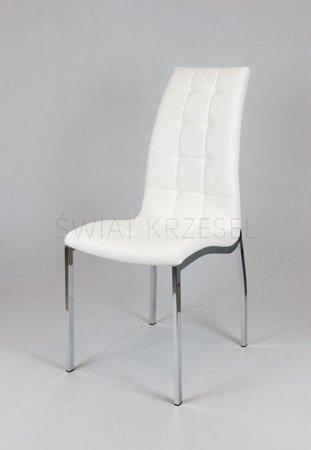 SK Design KS002 Białe Pikowane Krzesło z Eekoskóry Chrom Stelaż