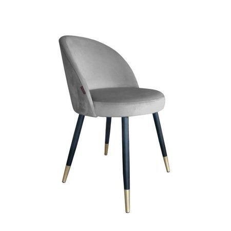 Szare tapicerowane krzesło CENTAUR materiał MG-17 ze złotą nóżką