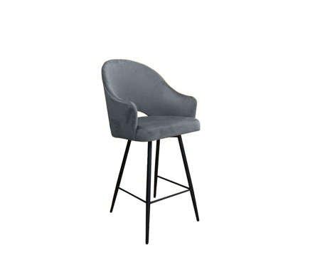 Szary tapicerowany hoker fotel DIUNA materiał BL-14