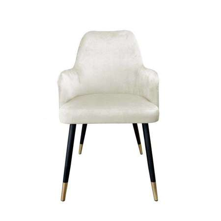 Tapicerowane krzesło PEGAZ w kolorze kości słoniowej materiał MG-50 ze złotą nóżką