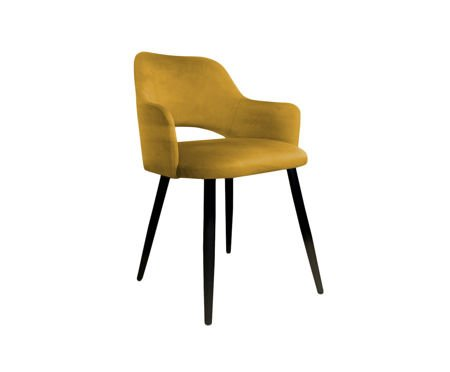 Żółte tapicerowane krzesło STAR materiał MG-15